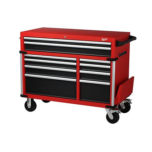 46-inch High Capacity Industrial 10-Drawer Steel Mobile Tool Storage Cabinet in Red and Black