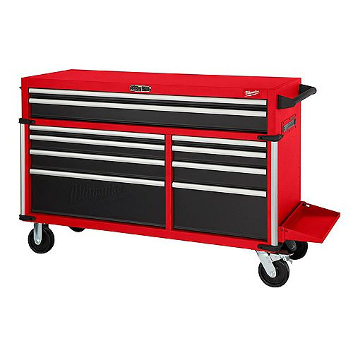 Milwaukee Tool 56-inch 10-Drawer Mobile High Capacity Industrial Steel Tool Storage Cabinet in Red and Black