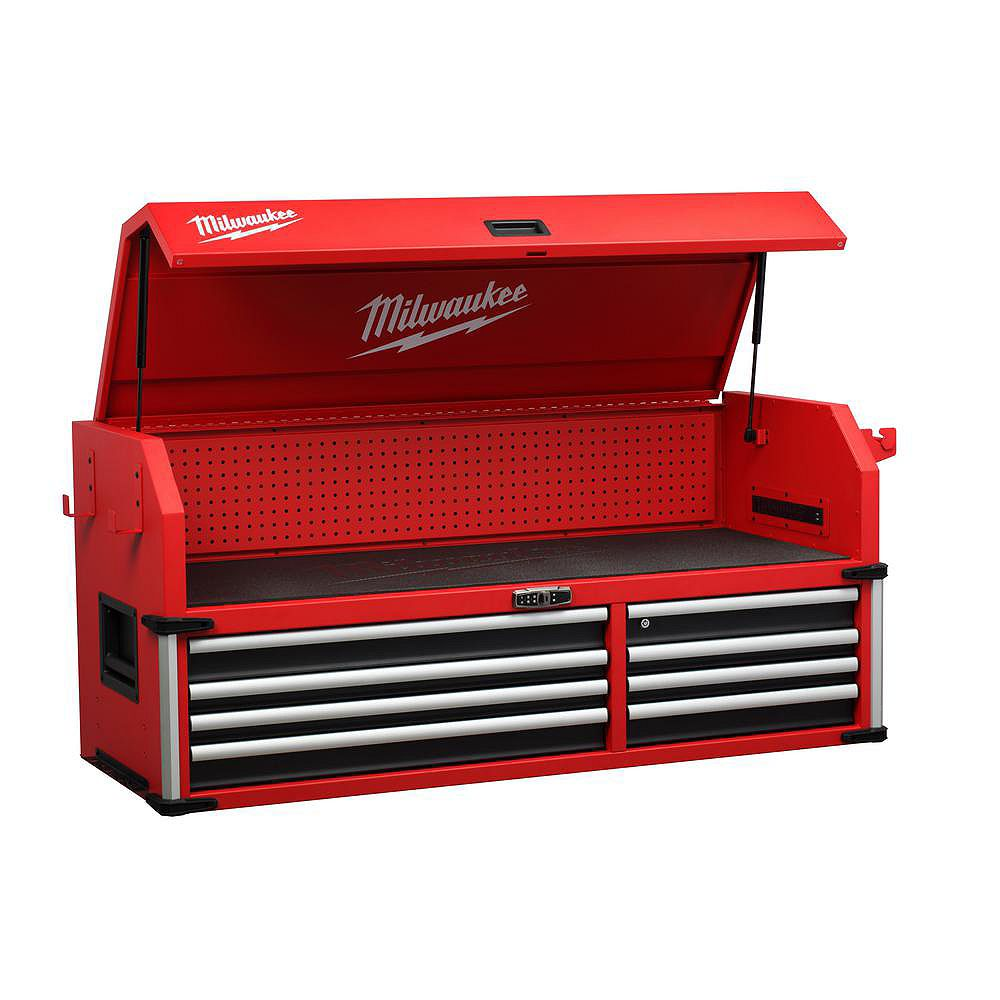 Milwaukee Tool 56-inch 8-Drawer High Capacity Industrial Steel Tool Storage Chest in Red