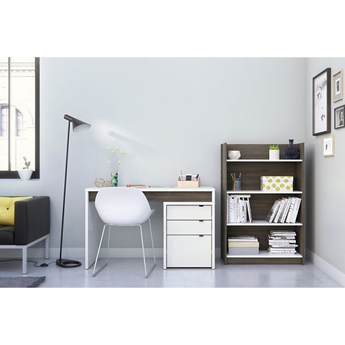 Chrono 3-Piece Home Office Set in Bark Grey and White
