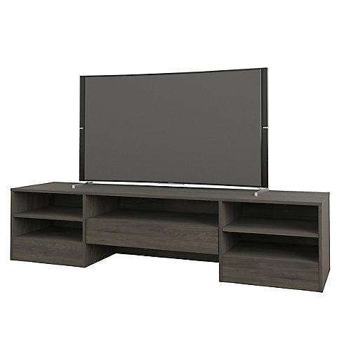 Meuble téléviseur à 1 tiroir Rustik, 72 po, gris écorce