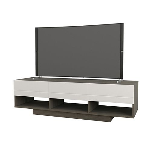 Rustik 60-inch TV Stand in Bark Grey and White