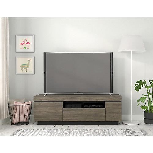 Meuble téléviseur Lima, 60 po, gris écorce et noir