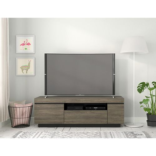 Lima 60-inch TV Stand in Bark Grey and Black