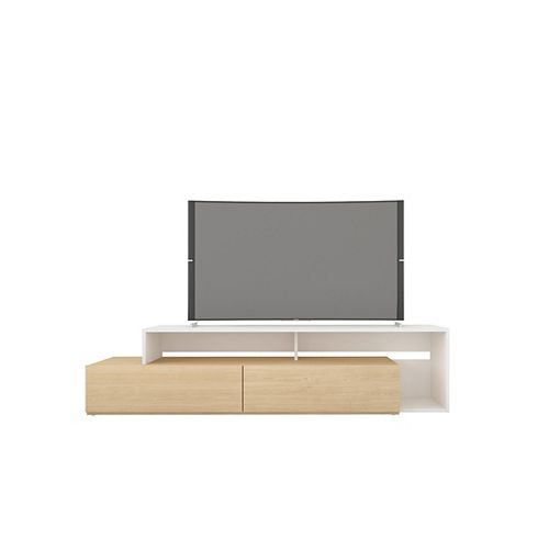 Tonik 72-inch TV Stand in Natural Maple and White