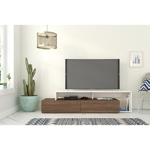 Tonik 72-inch TV Stand in Walnut and White