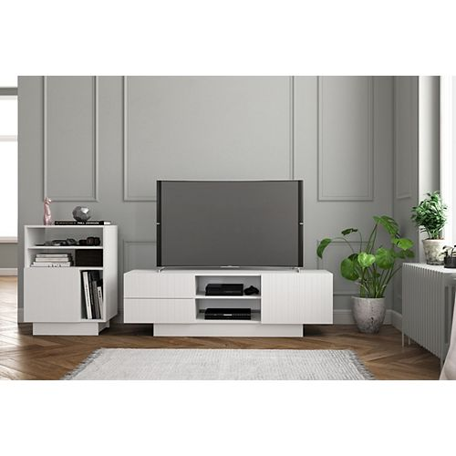 Marble 2-Piece 60-inch Entertainment Set, White