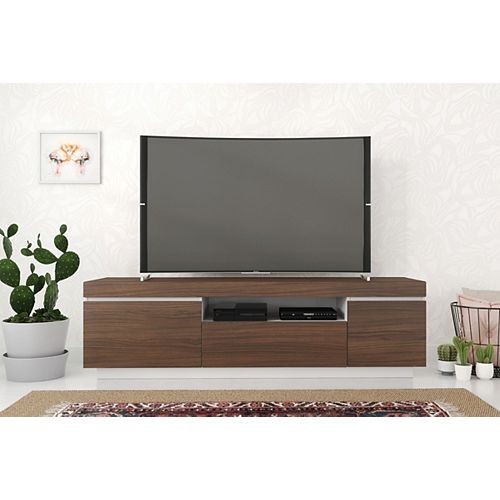 Cali 68-inch TV Stand in Walnut and White