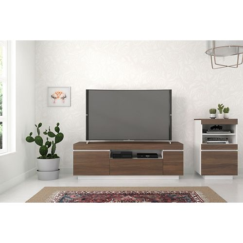 Cali 2-Piece 60-inch Entertainment Set, Walnut and White
