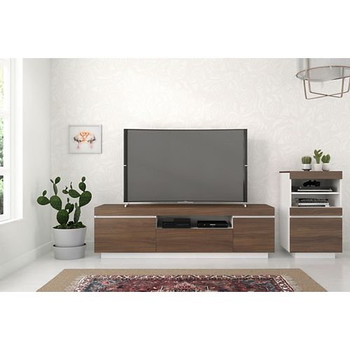 Cali 2-Piece 68-inch Entertainment Set, Walnut and White