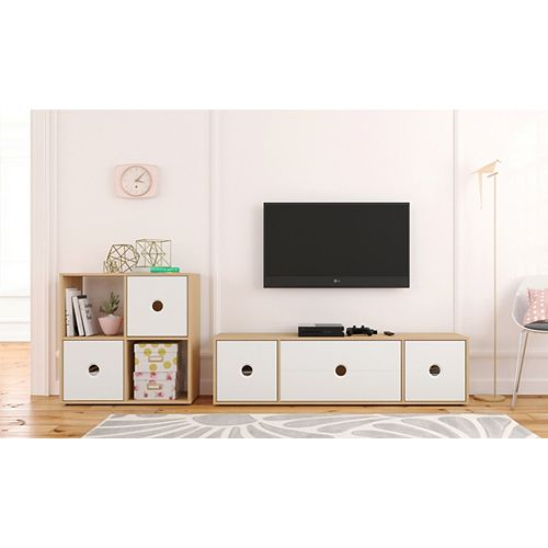 Domino 60-inch Tv Stand with Bookcase, Natural Maple and White