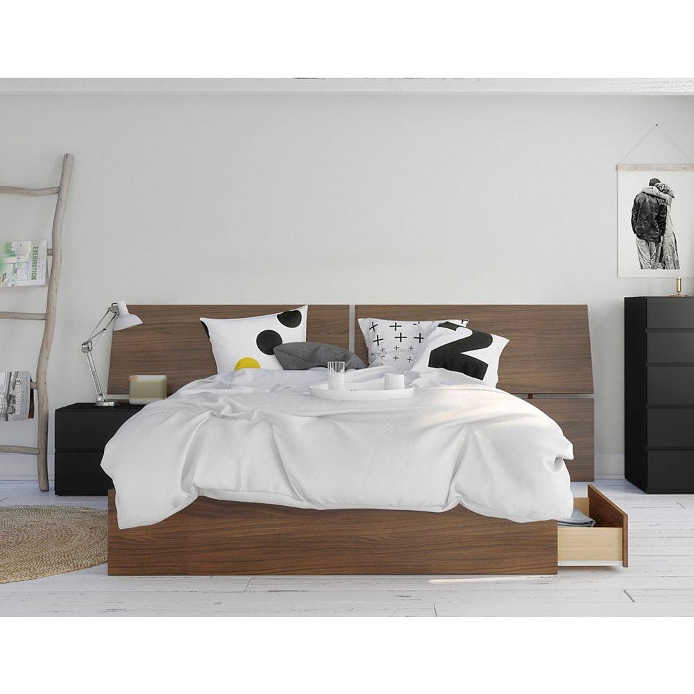 Nexera Moxy 3 Piece Queen Bedroom Set Walnut And Black The Home Depot Canada