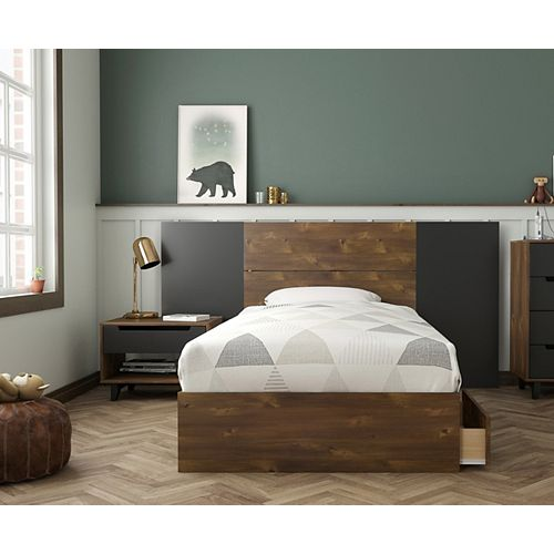Oscuro 4-Piece Twin Bedroom Set, Truffle and Black