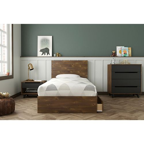 Oscuro Twin Bedroom Set, Truffle and Black
