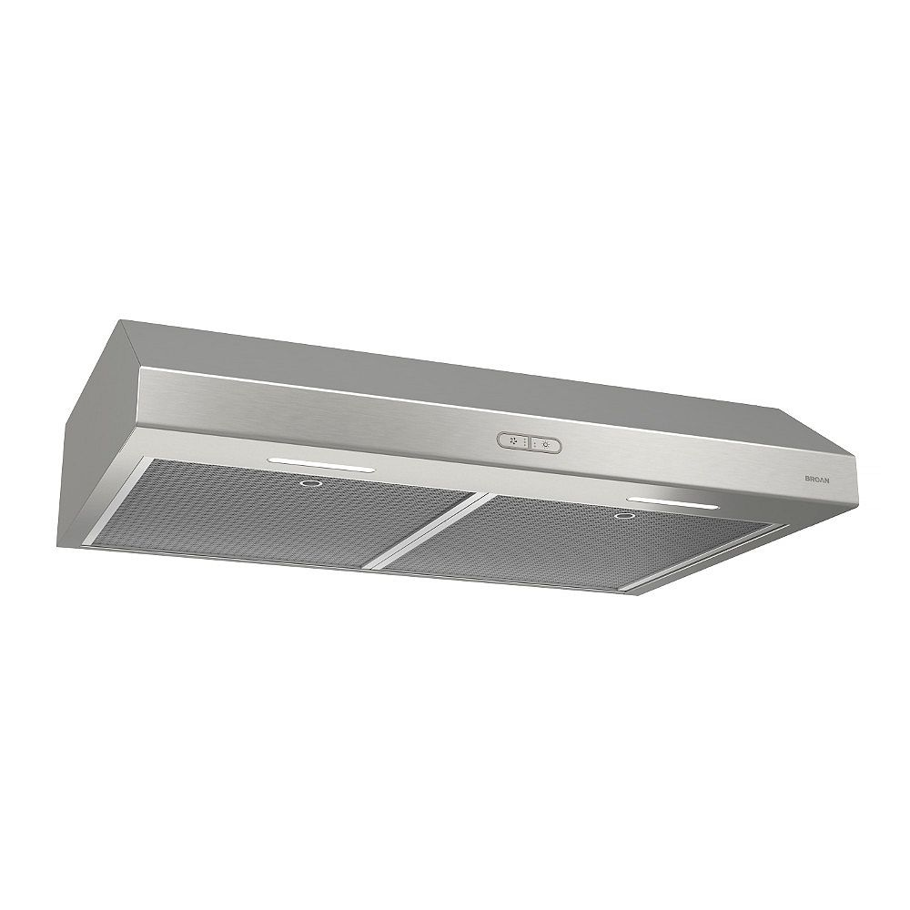Broan 30 Inch Under Cabinet Range Hood, 300 Max Blower CFM, Stainless Steel