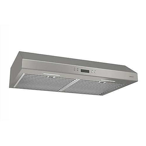 Hotte de cuisinière sous-armoires 30 po 600 pi3/min en acier inoxydable