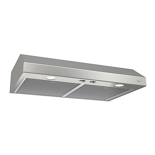 Hotte de cuisinière sous-armoires 24 po 250 pi3/min en acier inoxydable