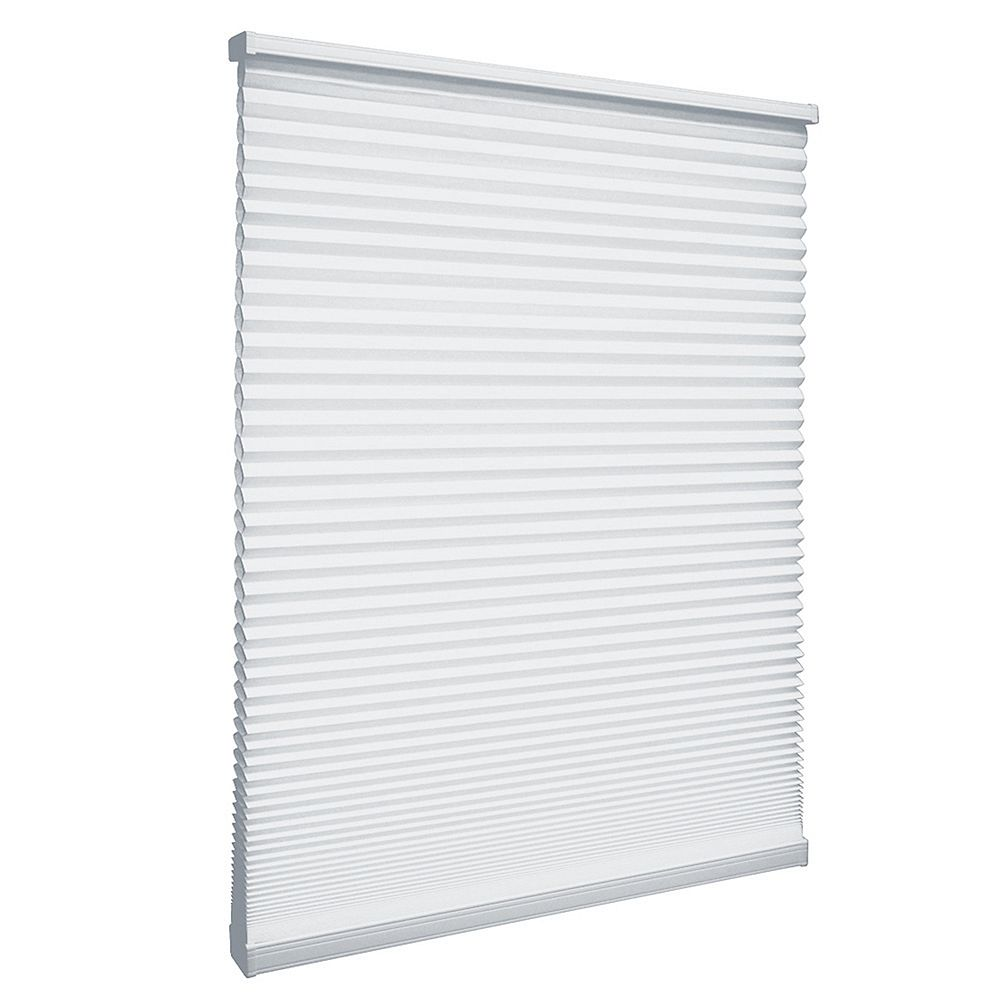 Home Decorators Collection 56.5-inch W x 64-inch L, Light Filtering Cordless Cellular Shade in Snow Drift White