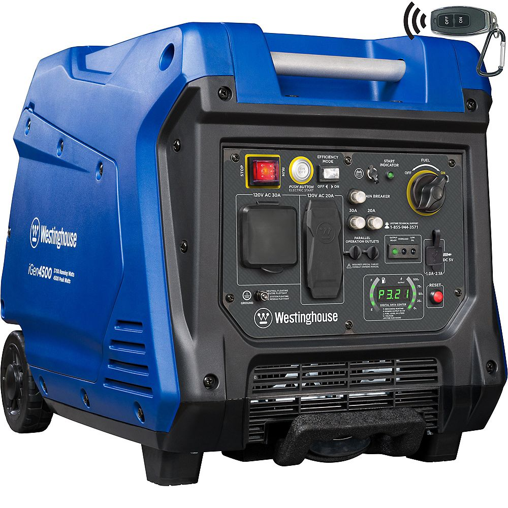 Westinghouse iGen4500 4,500/3,700 Watt Super Quiet Gas Powered Inverter Generator with LED Display, Push Button and Remote Start