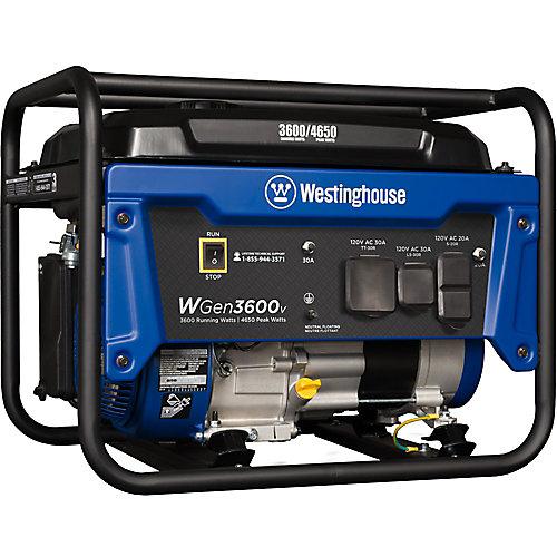 Génératrice portative alimentée par essence de 4 650/3 600 watts, prête pour les VR, avec arrêt automatique en cas de manque d'huile