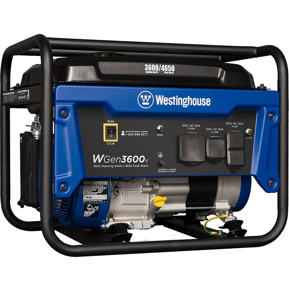 Westinghouse WGen3600v 4,650/3,600 Watt Gasoline Powered RV-Ready Portable Generator with Automatic Low Oil Shutdown