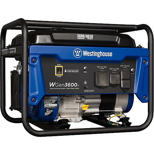 WGen3600v 4,650/3,600 Watt Gasoline Powered RV-Ready Portable Generator with Automatic Low Oil Shutdown