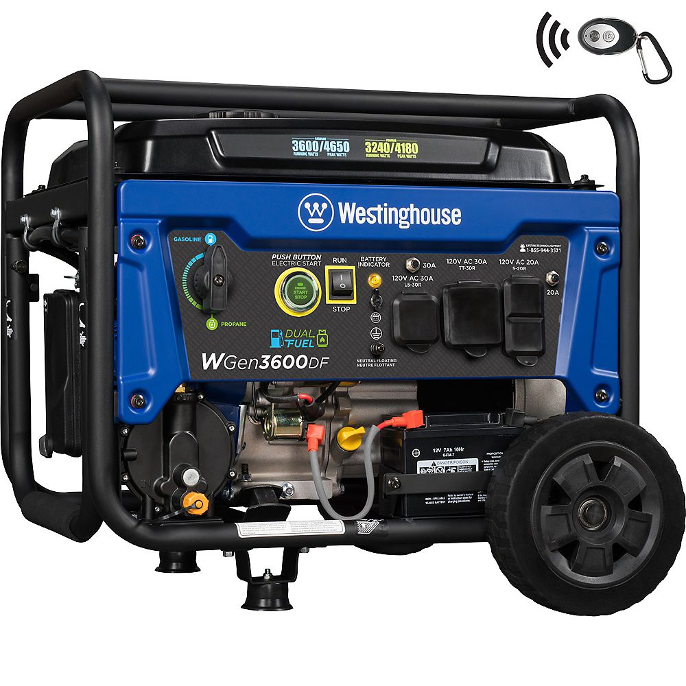 Westinghouse WGen3600DF 4,650/3,600 Watt Dual Fuel Gasoline or Propane Powered RV-Ready Portable Generator with Remote Start