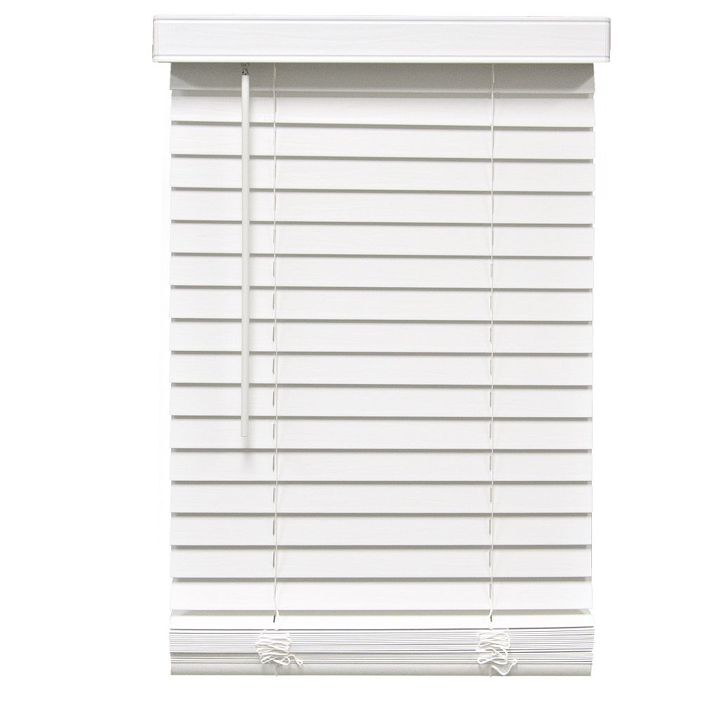 Home 2-inch Cordless Faux Wood Blind White 48-inch x 64-inch