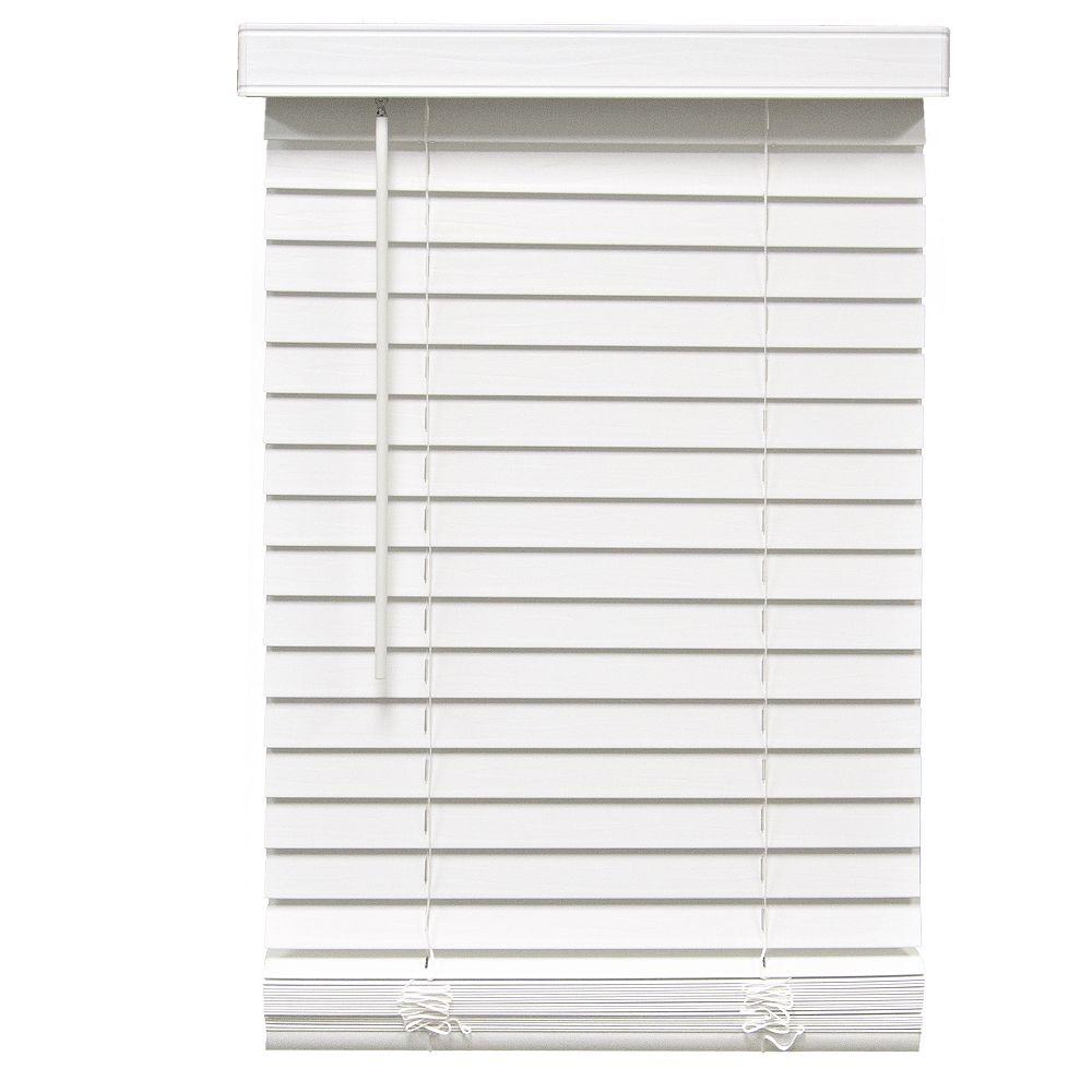 Home Decorators Collection 57,5 Po Largeur x 64 Po Longueur, 2 Po Stores En Similibois Sans Fil, Blanc