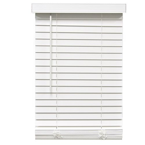 2-inch Cordless Faux Wood Blind White 57.5-inch x 64-inch