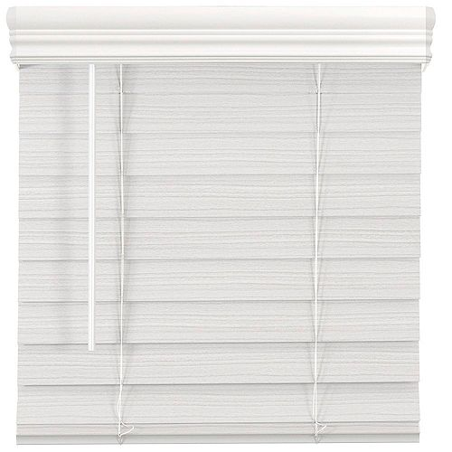 65 Po Largeur x 48 Po Longueur, 2,5 Po Stores En Similibois Première Sans Fil, Blanc