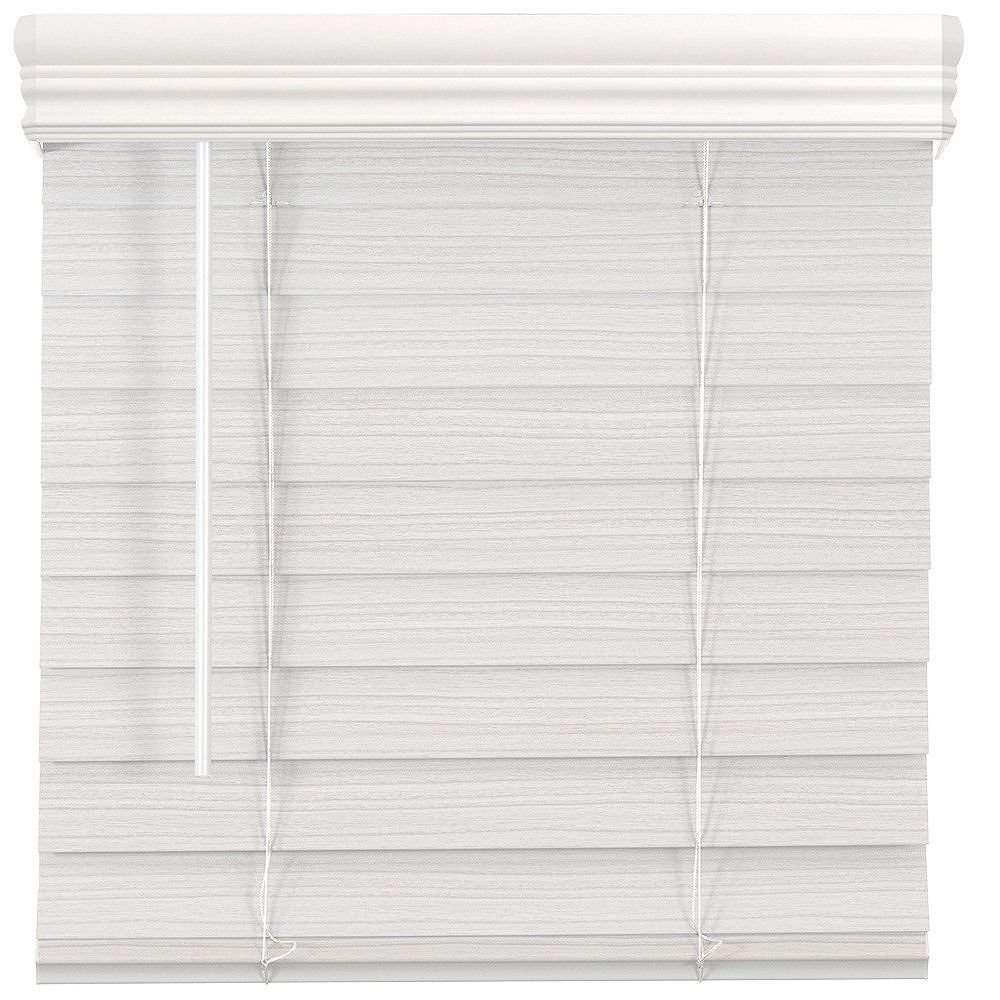 Home Decorators Collection 53.75-Inch W x 64-Inch L, 2.5-Inch Cordless Premium Faux Wood Blinds In White