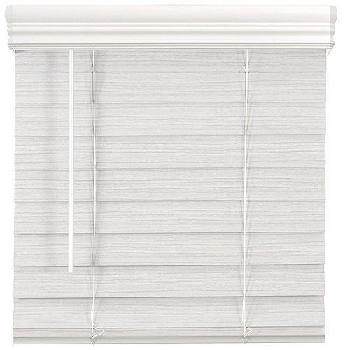 61,5 Po Largeur x 64 Po Longueur, 2,5 Po Stores En Similibois Première Sans Fil, Blanc