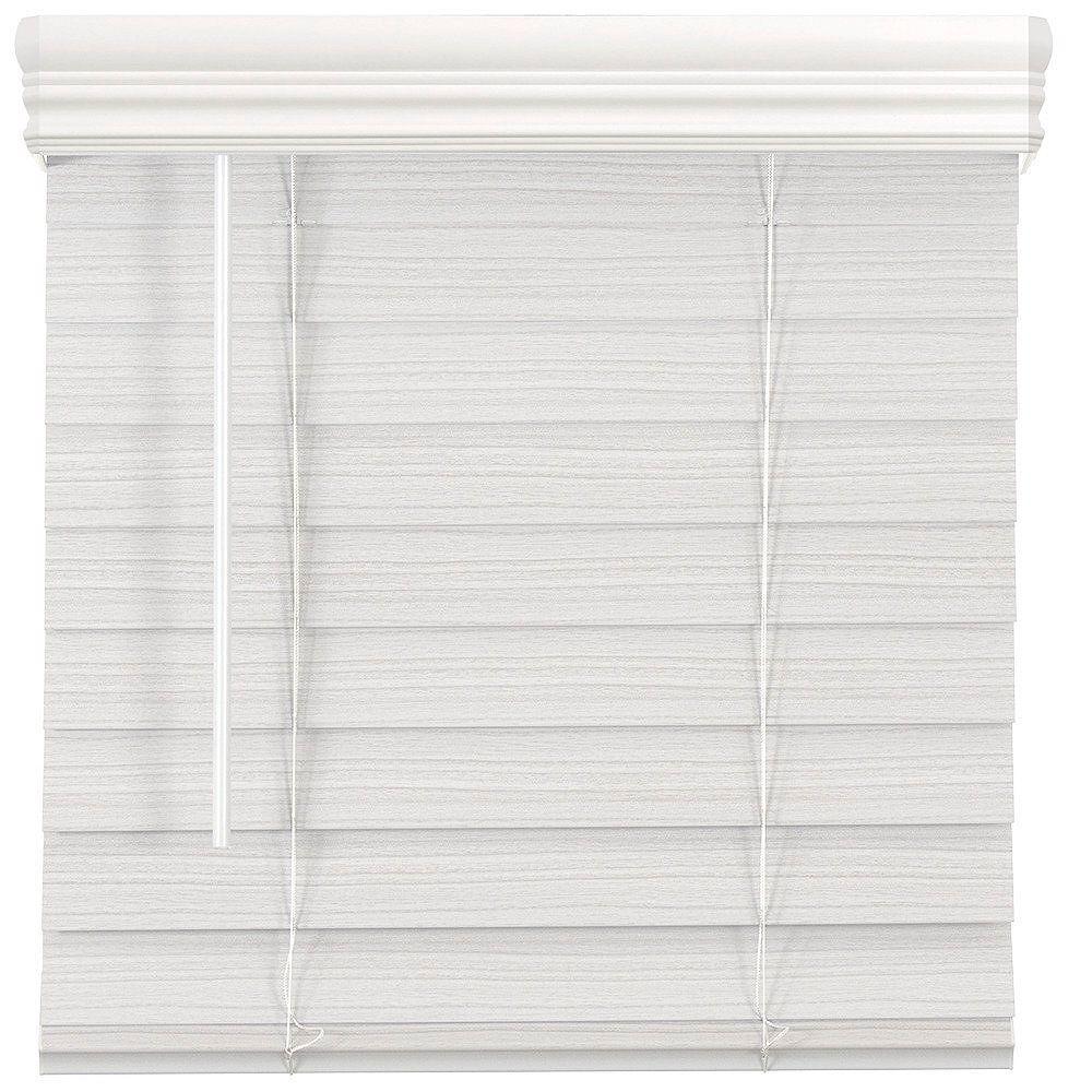 Home Decorators Collection 66 Po Largeur x 64 Po Longueur, 2,5 Po Stores En Similibois Première Sans Fil, Blanc