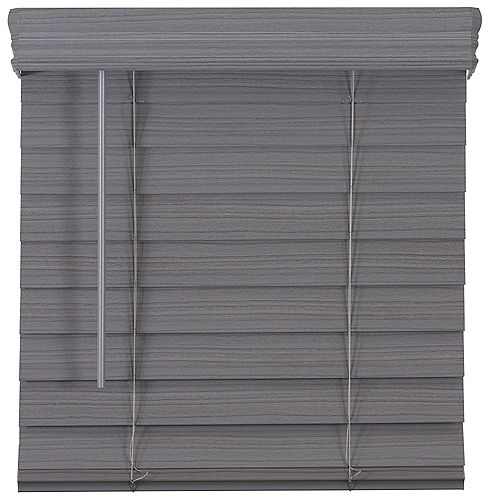 2.5-inch Cordless Premium Faux Wood Blind Grey 48-inch x 48-inch