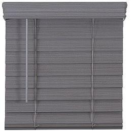 Stores en Faux Bois de Qualité Supérieure Sans Fil de 52 Pouces (Largeurs Multiples) x 64 Pouces de Longueur, 2,5 Pouces en Gris