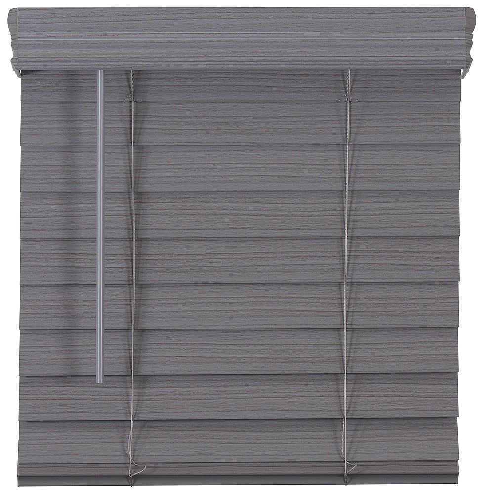 Home Decorators Collection 64.25-Inch W x 72-Inch L, 2.5-Inch Cordless Premium Faux Wood Blinds In Grey