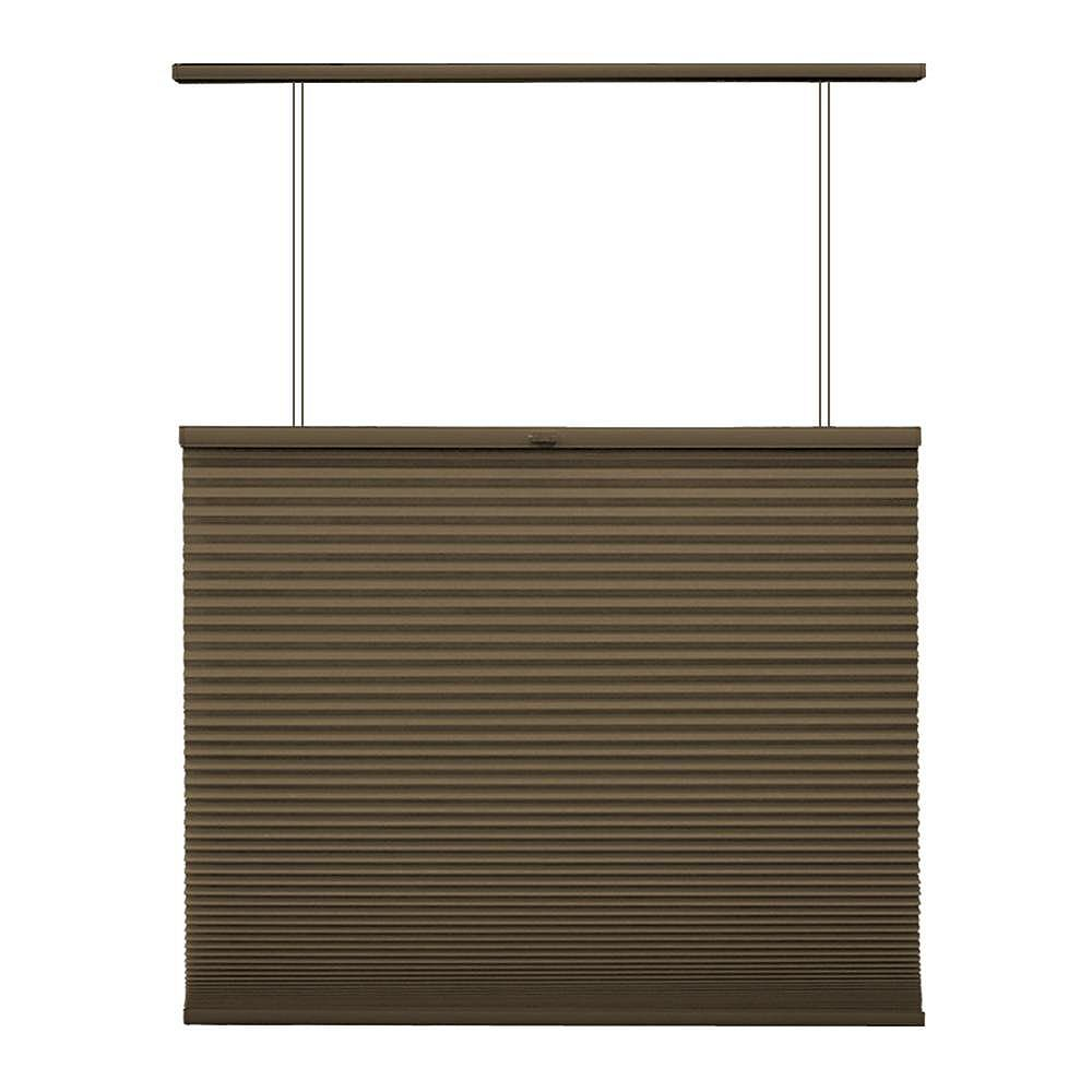 Home Decorators Collection 62.5-inch W x 48-inch L, Top Down/Bottom Up Light Filtering Cordless Cellular Shade in Espresso Brown