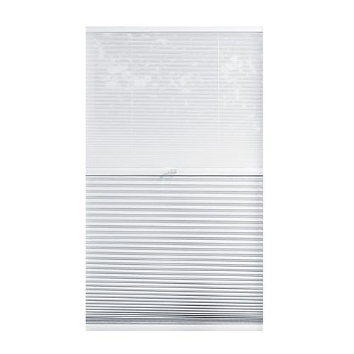 22-inch W x 48-inch L, 2-in-1 Blackout and Light Filtering Cordless Cellular Shade in White