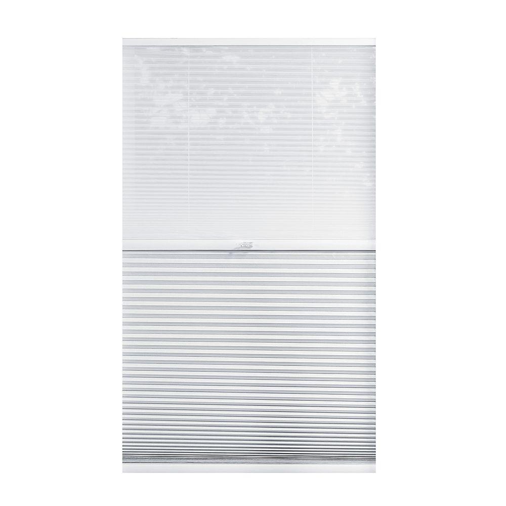 Home Decorators Collection 45,5 po x 48 po, Stores Cellulaires 2 en 1 Obscuré et Filtre de Lumière Sans Fil Blanc