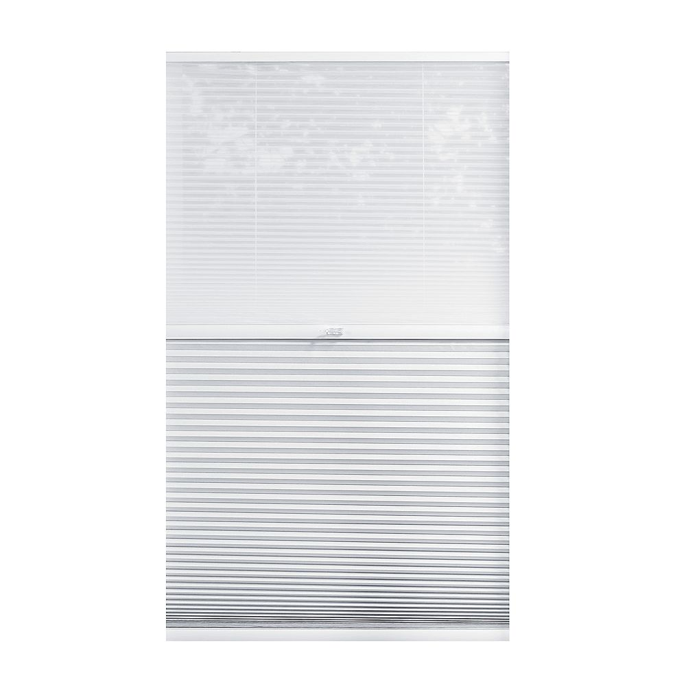 Home Decorators Collection 43.5-inch W x 72-inch L, 2-in-1 Blackout and Light Filtering Cordless Cellular Shade in White