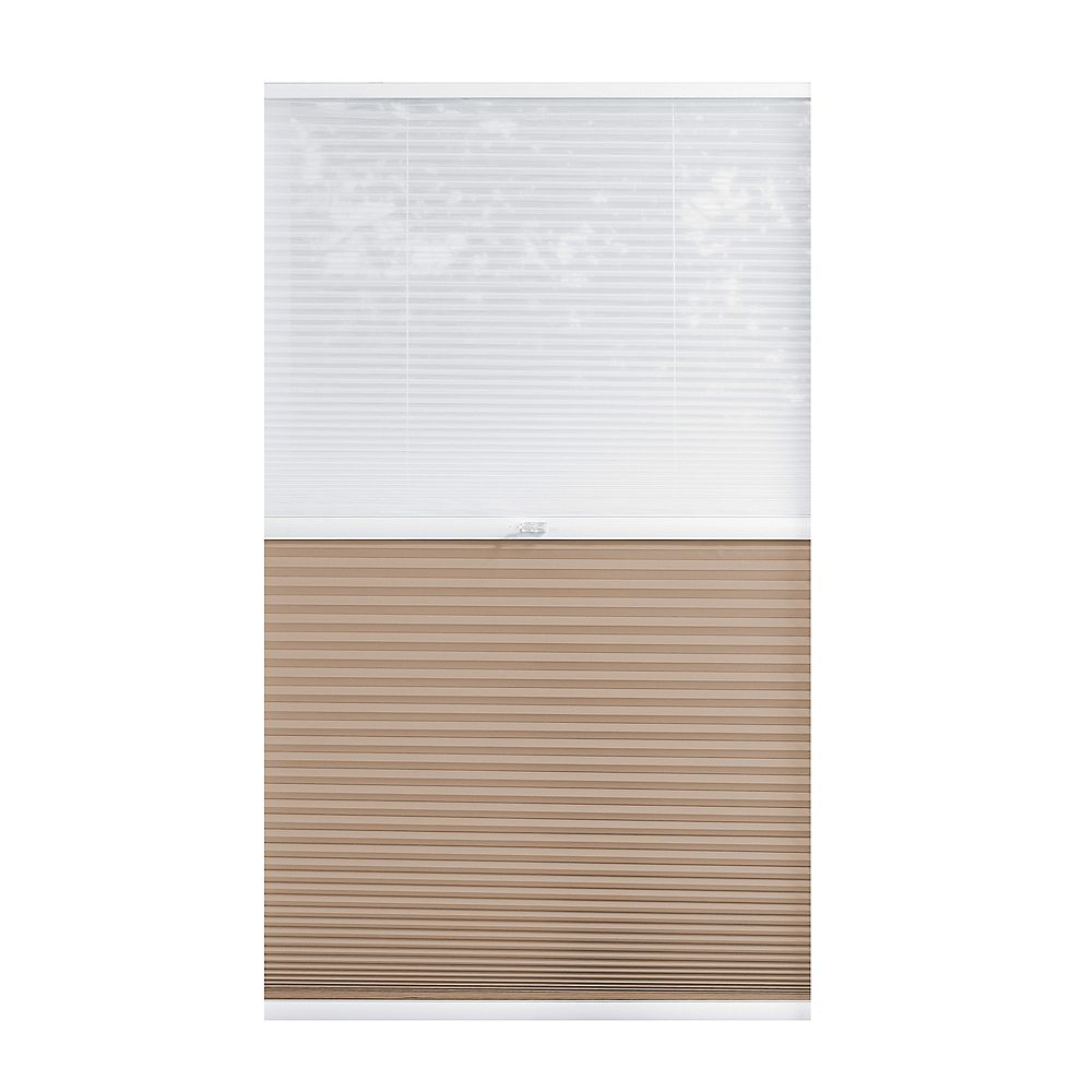 Home Decorators Collection 42.5-inch W x 72-inch L, 2-in-1 Blackout and Light Filtering Cordless Cellular Shade in White/Tan