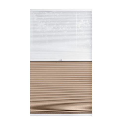63-inch W x 72-inch L, 2-in-1 Blackout and Light Filtering Cordless Cellular Shade in White/Tan