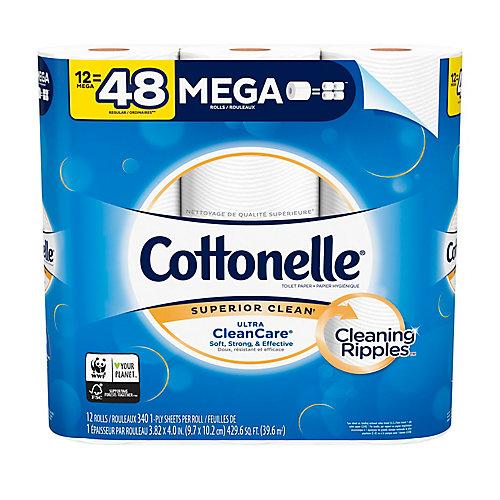 Papier hygiénique robuste Cottonelle Ultra CleanCare, 12 méga rouleaux