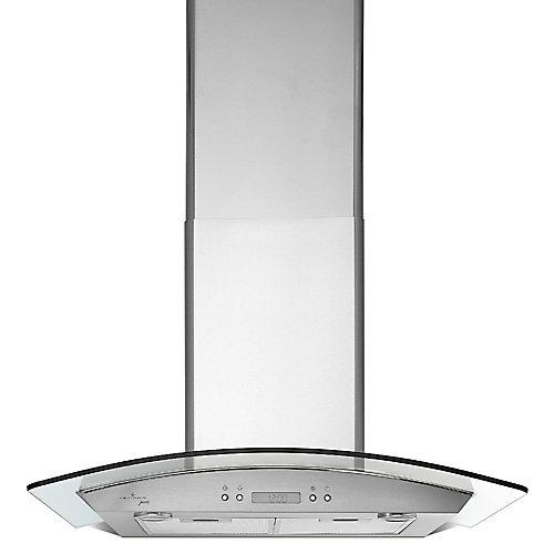 30 inch 450 CFM Chimney style range hood in stainless steel and glass