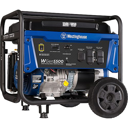 WGen5500 6,850/5,500 Watt Gasoline Powered Portable Generator with Electric Start and Wireless Remote Start
