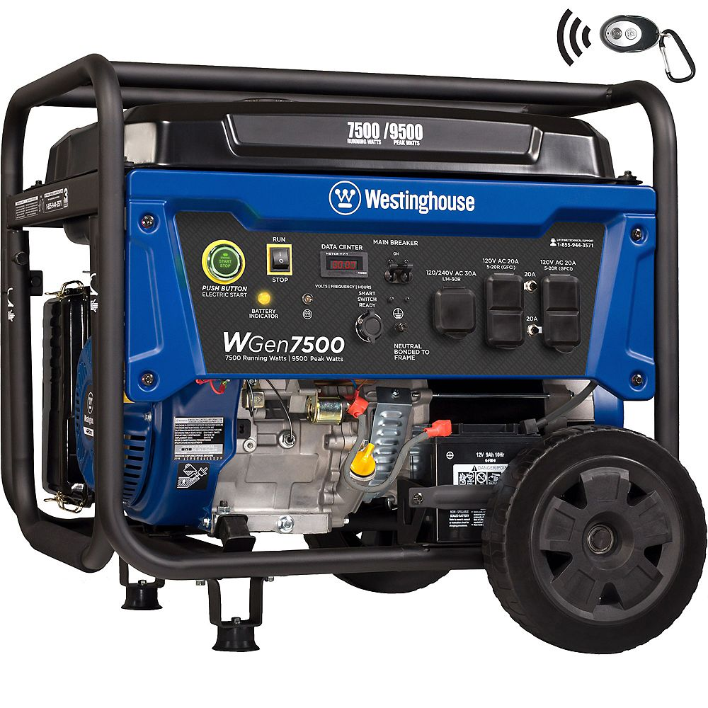 Westinghouse WGen7500 9,500/7,500 Watt Gasoline Powered Portable Generator with Electric Start and Wireless Remote Start