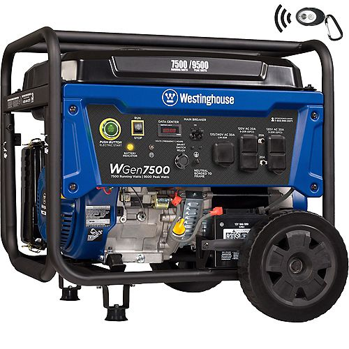 WGen7500 9,500/7,500 Watt Gasoline Powered Portable Generator with Electric Start and Wireless Remote Start
