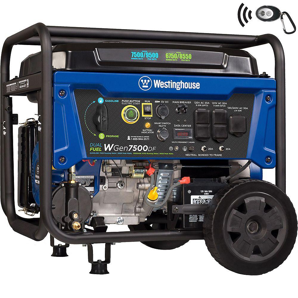 Westinghouse WGen7500DF 9.500/7,500 Watt Dual fuel Gasoline or Propane Powered Portable Generator with Remote Start