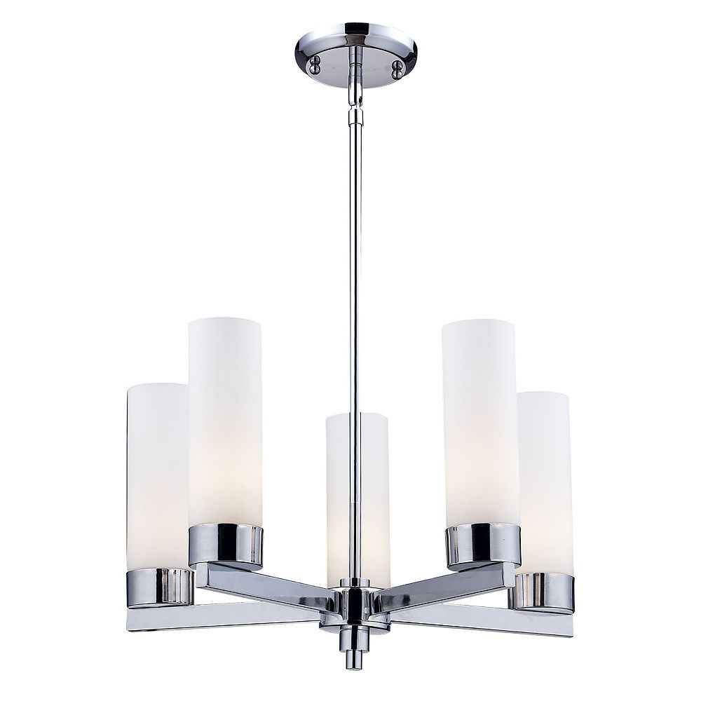 Filament Design Lustre chrome à 5 ampoules avec verre opale mat - 20 pouces
